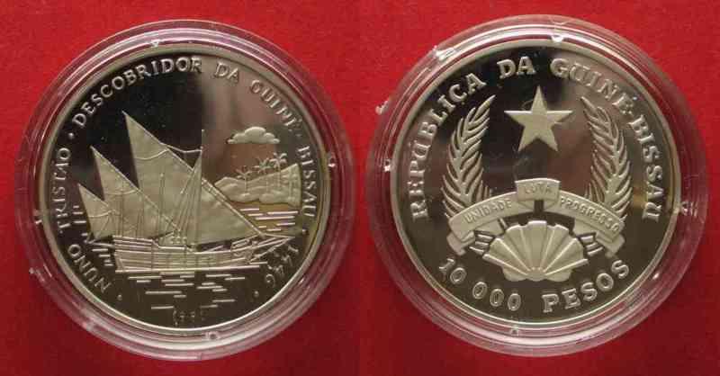 Guinea-Bissau GUINEA-BISSAU 10 000 Pesos 1991 Ship DISCOVERY silver PROOF # 74999  1991 PP