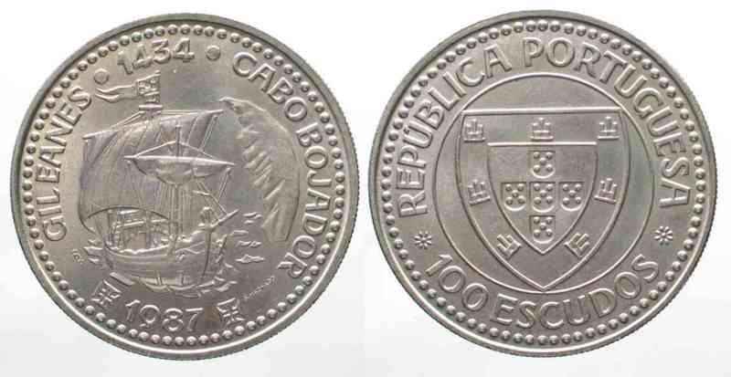 Portugal PORTUGAL 100 Escudos 1987 GIL EANES - CABO BOJADOR Cu-Ni UNC # 76196  1987 unz