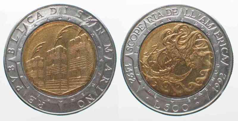 San Marino SAN MARINO 500 Lire 1992 COLUMBUS DISCOVERY OF AMERICA bi-metallic UNC # 76220  1992 st