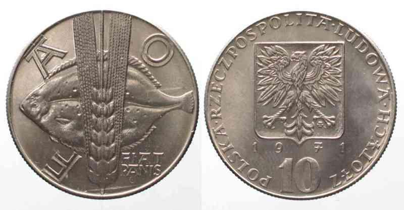 Polen POLAND 10 Zlotych 1971 Turbot F.A.O. Cu-Ni UNC # 76597  1971 st