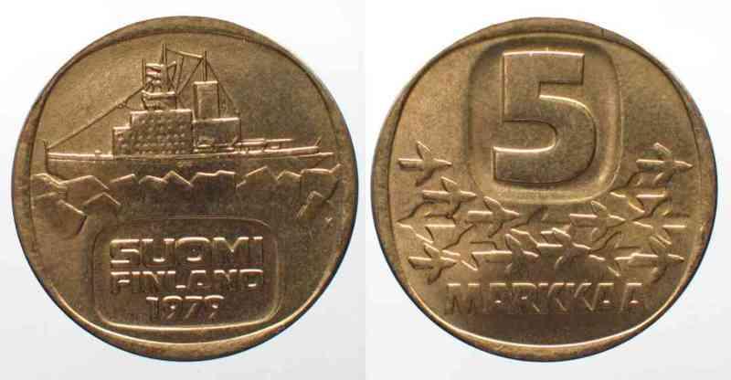 Finnland FINNLAND 5 Markkaa 1979 K Icebreaker URHO Al-Bro UNC!!! # 76867  1979 st