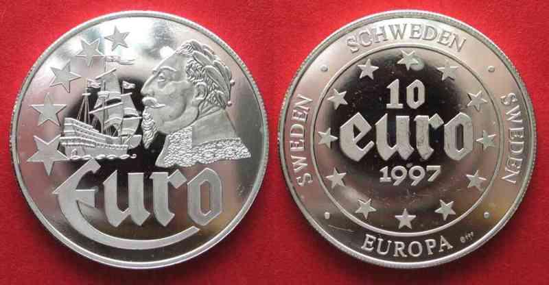 Europa SWEDEN 10 Euro 1997 GUSTAV ADOLPH Ship VASA silver 22g Proof # 78841  1997 PP