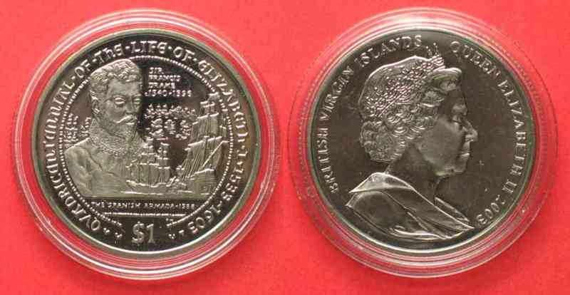 Britische Jungferninseln BRIT. VIRGIN ISL. 1 $ 2003 Drake & Armada LIFE OF ELIZABETH I Cu-Ni BU # 79211  2003 st