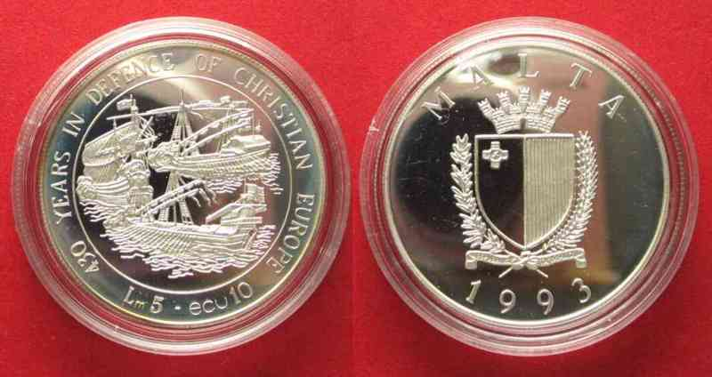 Malta MALTA 5 Liri / 10 Ecu 1993 SEE BATTLE of LEPANTO silver Proof SCARCE! # 79488  1993 PP