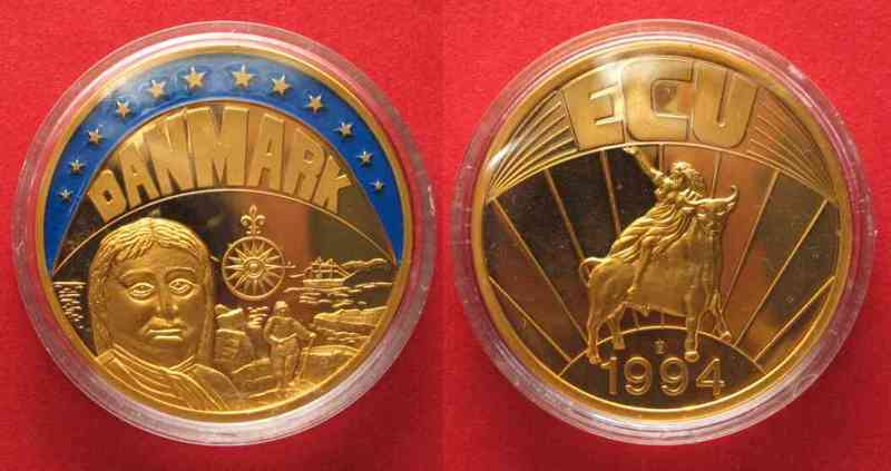 Dänemark DENMARK Ecu 1994 VITUS BERING Cu-Ni gold plated colored Proof 40mm # 79514  1994 PP