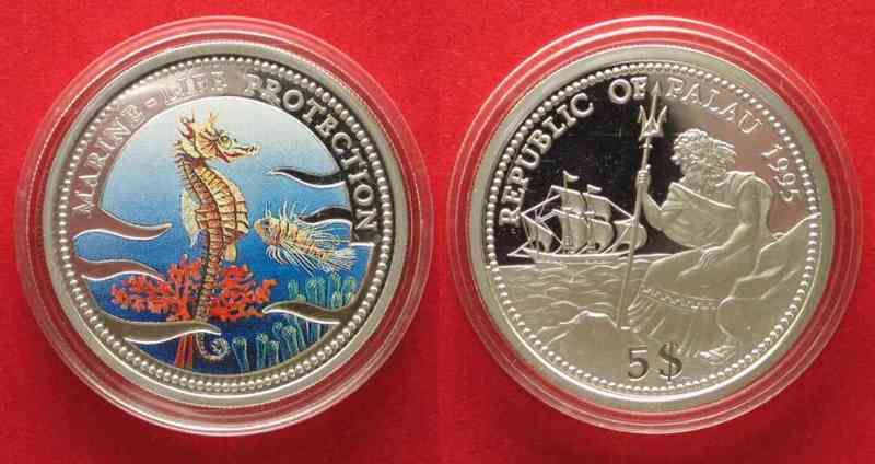 Palau PALAU 5 $ 1995 Sea horse MARINE LIFE PROTECTION silver 25g COLORED # 79734  1995 PP