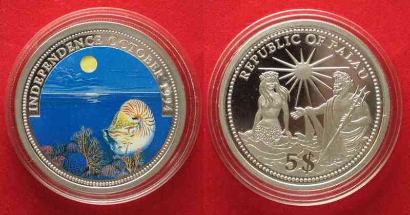 Palau PALAU 5 $ 1994 Marine Life INDEPENDENCE silver 25g COLORED # 79736  1994 PP