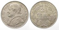 Vatikan  PAPAL STATE 2-1/2 Lire 1867 PIUS IX A.XXII silver aUNC!!! # 54860