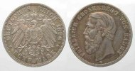 Baden  Germany BADEN 5 Mark 1898 G FRIEDRICH silver VF # 77832