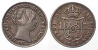 Spanien  SPAIN 1 Real 1853 Madrid ISABEL II silver VF # 77960