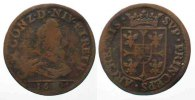 Frankreich - Nevers & Rethel  NEVERS & RETHEL 2 Liards 1610 CHARLES of GONZAGA copper F-VF # 78673