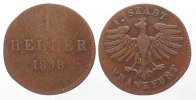 Frankfurt  FRANKFURT City 1 Heller 1838 copper F+ SCARCE # 79597