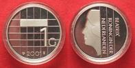 Niederlande  NETHERLANDS 1 Gulden 2001 BEATRIX - FAREWELL TO GULDEN - silver Proof # 87424