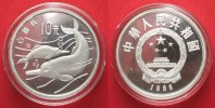 China  CHINA 10 Yuan 1988 Dolphins WWF silver Proof # 87500