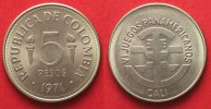Kolumbien  COLOMBIA 5 Pesos 1971 PAN-AMERICAN GAMES nickel clad steel UNC!!! # 87508