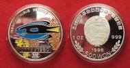 Nordkorea  NORDKOREA 500 Won 1996 Doktorfisch ZIERFISCHE Silber 1 oz FARBE RRR! # 91452