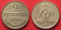1858 Hannover, Königreich HANNOVER Kingdom 2 Pfennig 1858 B GEORGE V -... 149,99 EUR  +  6,50 EUR shipping