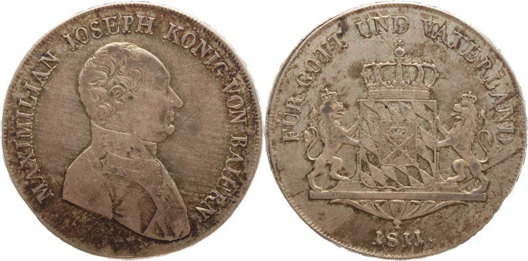 Taler 1811 Bayern Maximilian I. Joseph 1806-1825. Schöne Patina, sehr schön+