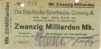 20 Mrd. Mark 26.10.1923 Coswig  Gebraucht  5,00 EUR  +  5,00 EUR shipping