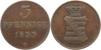 Sachsen-Albertinische Linie 3 Pfennig Anton 1827-1836.
