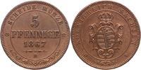 5 Pfennig 1867  B Sachsen-Albertinische Linie Johann 1854-1873. Fast vo... 10,00 EUR
