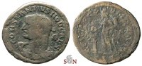 Constantius I. as Caesar Follis - rare bust with club on shoulder - Lugdunum min
