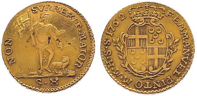 10 Scudi Gold 1762 Malta Emmanuel Pinto 1741-1773. Winz. Schrötlingsfehler, sehr schön