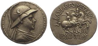 Tetradrachme 171-145  v. Chr. Baktria Eukr...