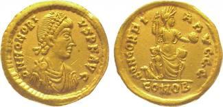 Gold 395-423 n. Chr. Kaiserzeit Honorius 3...