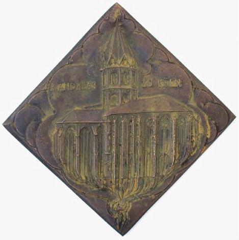bronzeplakette 1974 k ln st andreas ef moneda. Black Bedroom Furniture Sets. Home Design Ideas