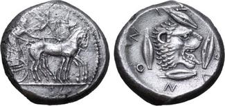 AR Tetradrachm 475-466 BC. Griechenland Sicily, Leontinoi VZ