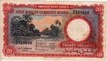 20 Shillings 1953 British West Africa RIVE...