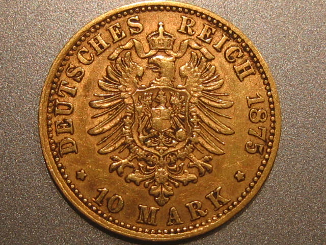 10 Mark 1875 D Bayern Bayern Ludwig 10 Mark 1875 D Gold VF