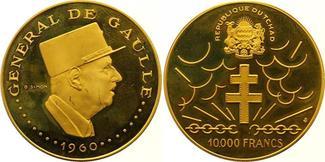 10000 Francs Gold  Tschad Republik seit 19...