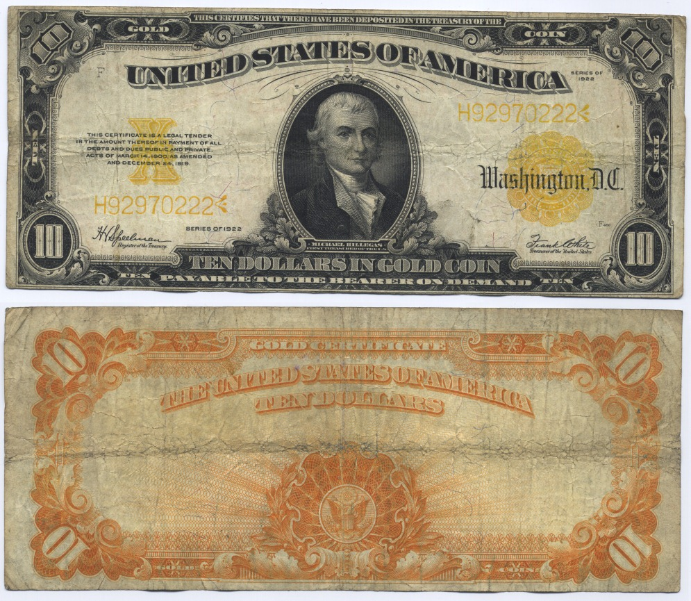 10 Dollars 1922 USA Large Gold Certificate, Hillegas. Speelman-White Fine