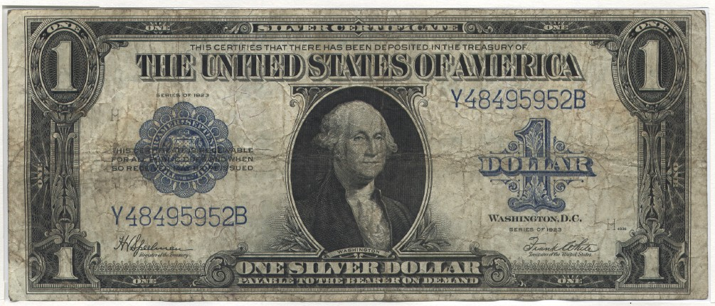 USA Large Silver Certificate, Washington. Speelman-White 1 Dollar 1923 Very Good-Fine