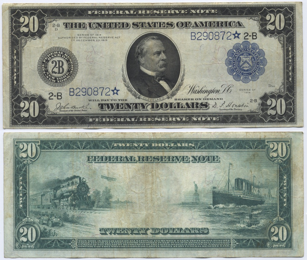 USA Large Federal Reserve Note, Cleveland. Burke-Houston, Star Note Fr. 970* 20 Dollars 1914 Fine-Very Fine