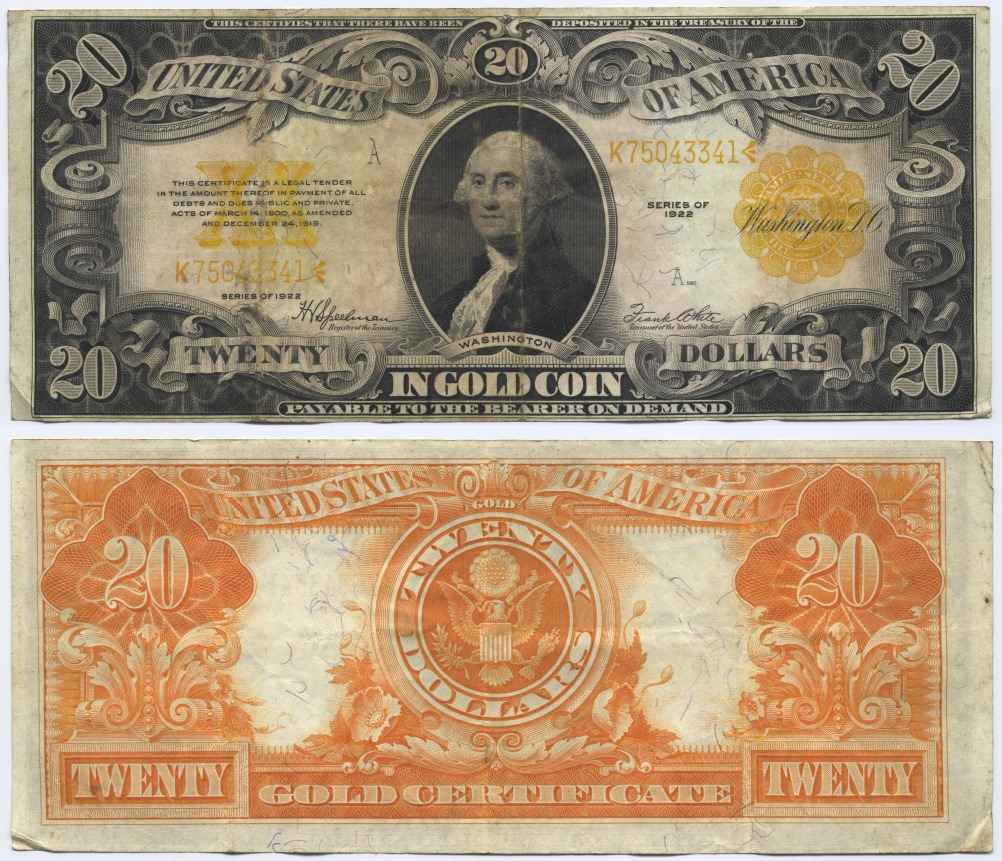USA Large Gold Certificate, Washington. Speelman-White 20 Dollars 1922 Fine-Very Fine
