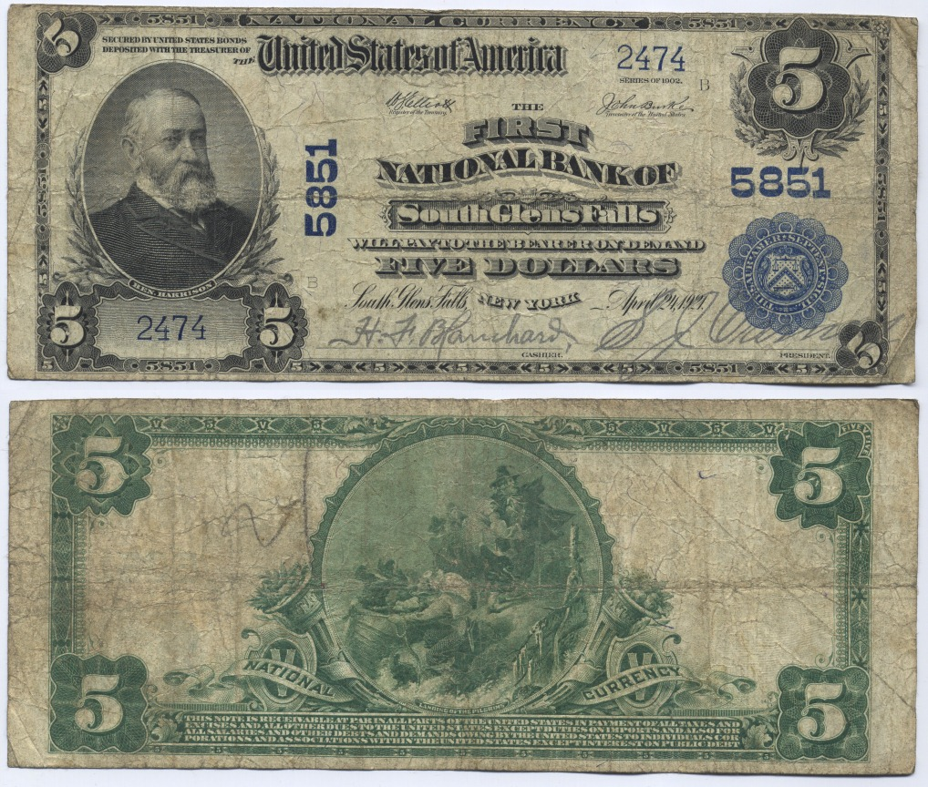USA Large Note, The First National Bank of South Glens Falls, New York. 2 pcs known! 5 Dollars 1902 Very Good - Fine
