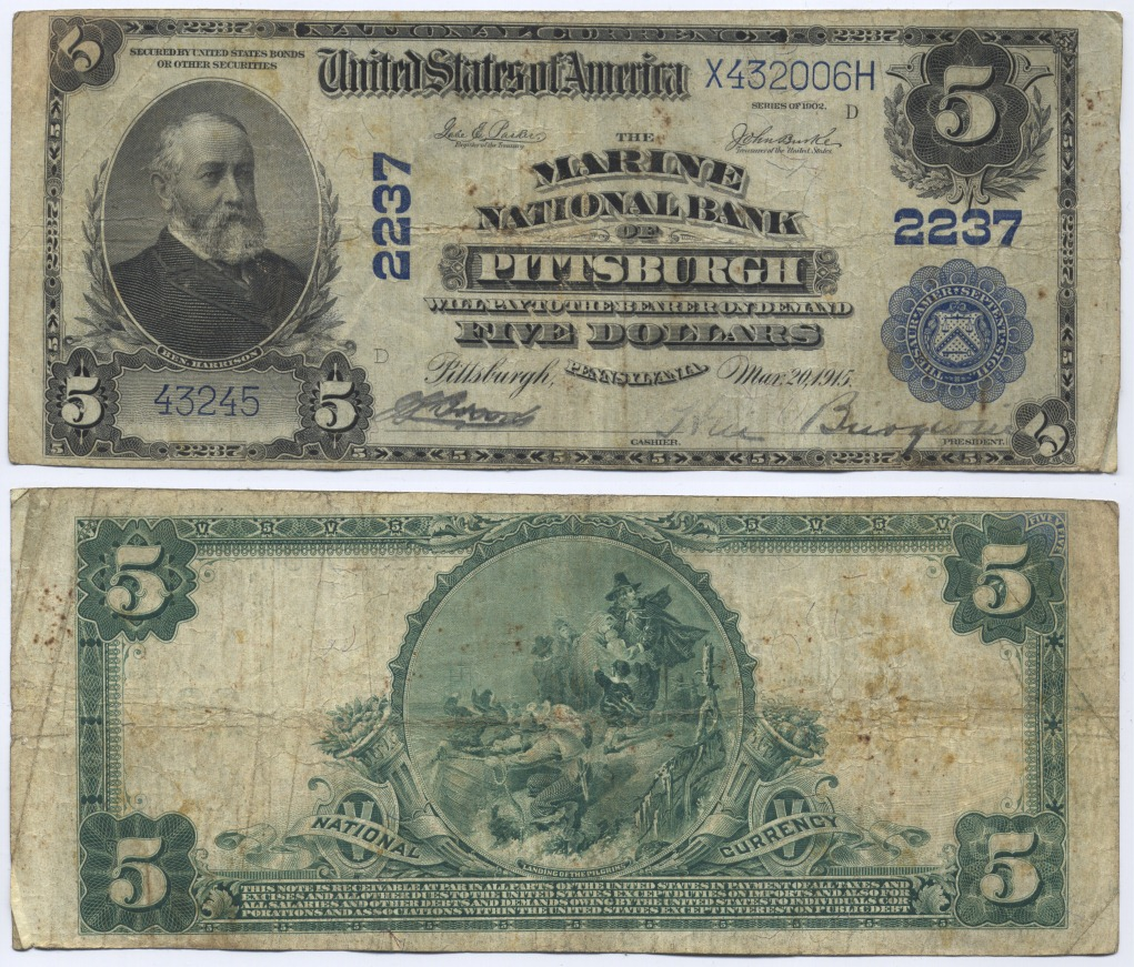 5 Dollars 1902 USA Large National Bank Note, The Marine National Bankof Pittsburgh, Pennsylvania. Very Good