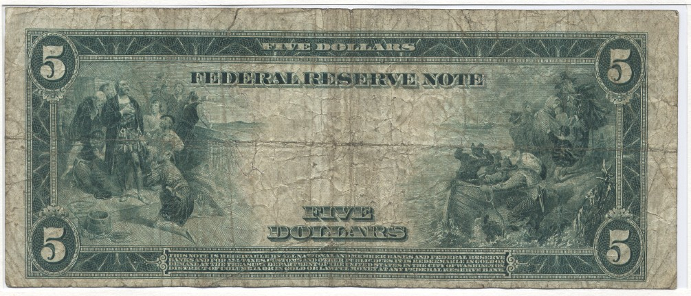 5 Dollars 1914 USA Large Federal Reserve Note, Lincoln. White-Mellon, New York, Fr. 851A Very Good
