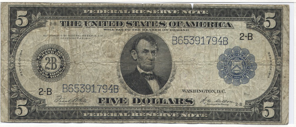 USA Large Federal Reserve Note, Lincoln. White-Mellon, New York, Fr. 851A 5 Dollars 1914 Very Good