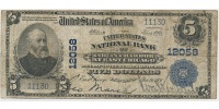 USA 5 Dollars Large National Bank Note, The United States National Bank  of Indiana Harbor at 