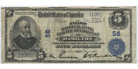 USA 5 Dollars Large National Bank Note, The First National Bank and Trust Company  of Hamilton