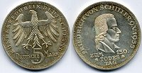 Deutschland 5 DM 1955 F vz Friedrich von S...