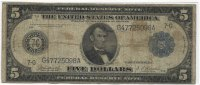 USA 5 Dollars 1914 Very Good Large Federal...