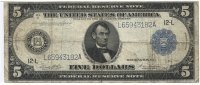 USA 5 Dollars 1914 Very Good - Fine Large ...