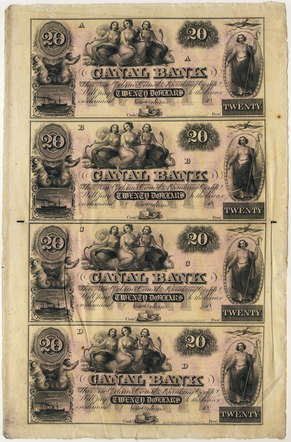 USA - Canal Bank Sheet of Large Size Obsolete Bank Notes: Canal Bank, New Orleans, Louisiana 4 x 20 Dollar 1831-1860 Very Fine 