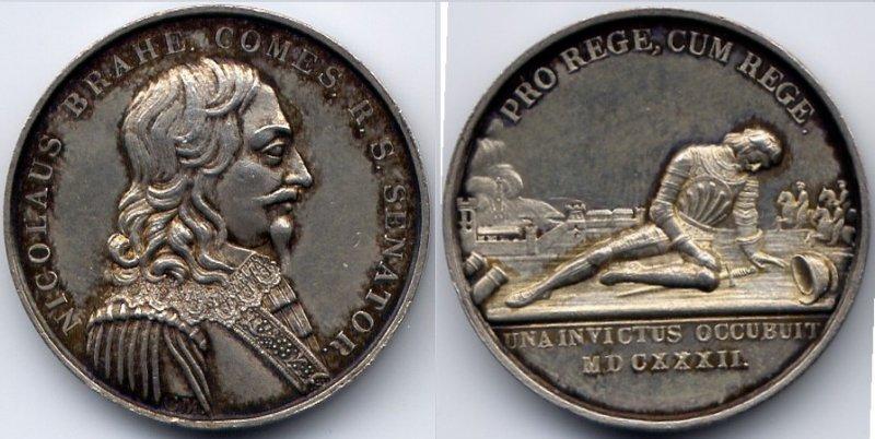 Silbermedaille 1632 Schweden / Sweden Gustav II Adolf / General Nikolaus Brahe - gefallen in der Schlacht bei Lützen EF
