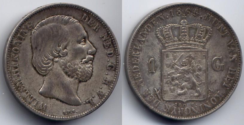1 Gulden 1865 Niederlande / Netherlands Willem III sehr schön - vorzueglich